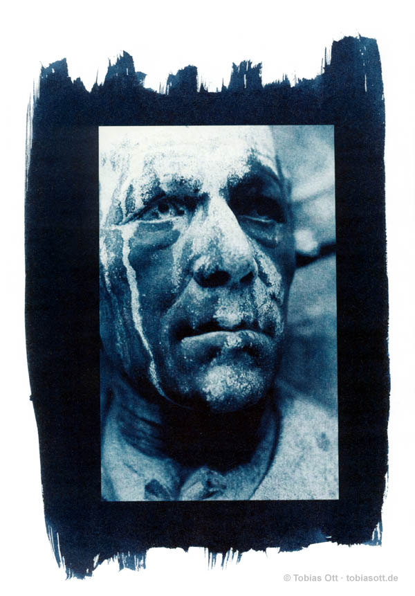 Cyanotype with portrait from cemetary